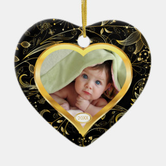 Baby's First Christmas Photo Ornament Heart Black