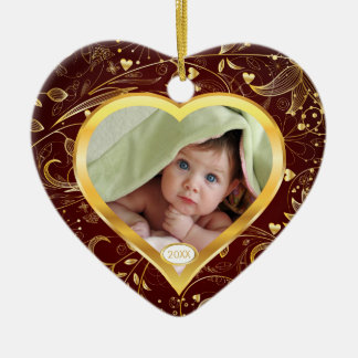 Baby's First Christmas Photo Ornament Heart Gold