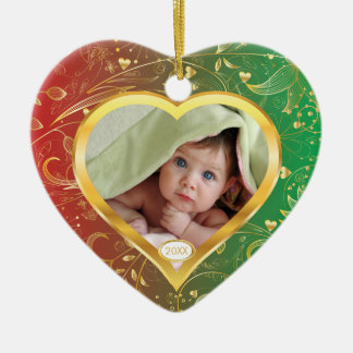 Baby's First Christmas Photo Ornament Heart Green