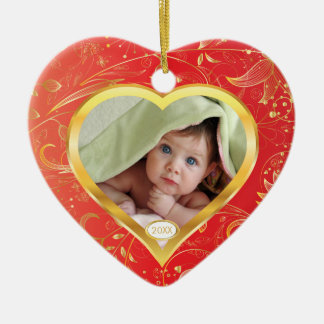 Baby's First Christmas Photo Ornament Heart Red