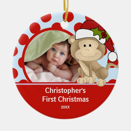 Baby's First Christmas Photo Ornament Monkey