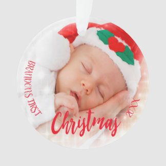 Baby's first Christmas photo ornament red