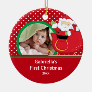 Babys First Christmas Photo Ornament Santa