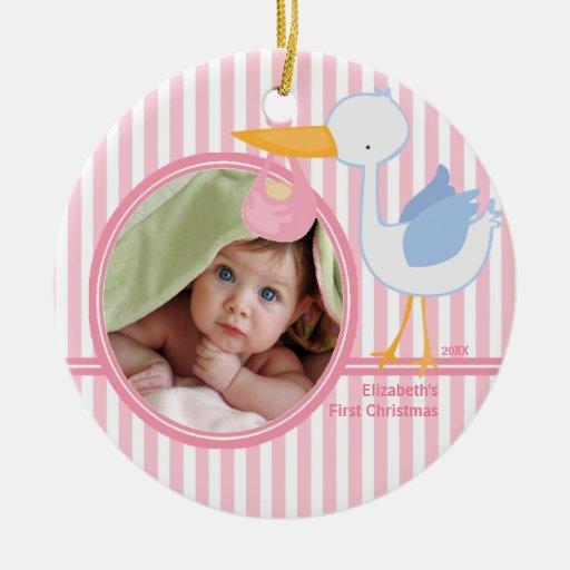 Babys First Christmas Photo Ornament Stork girl