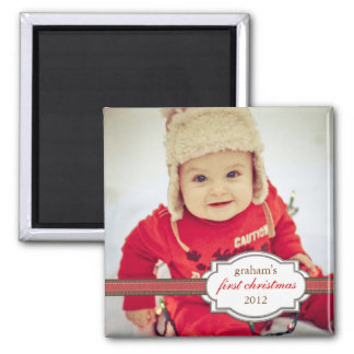 Baby's First Christmas Photo with Faux Ribbon Fridge Magnets