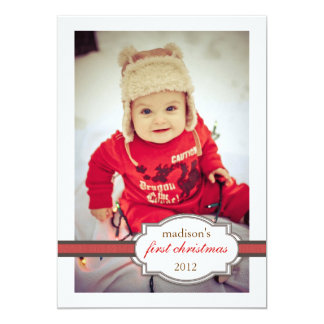 Baby's First Christmas Photo with Faux Ribbon Red 13 Cm X 18 Cm Invitation Card
