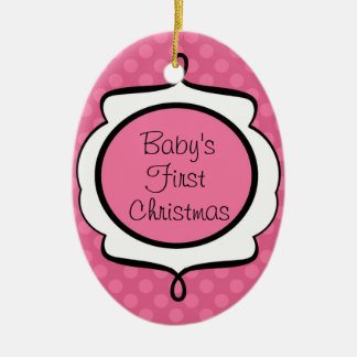 Baby's First Christmas Pink Oval Ornament
