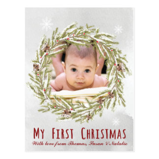 Baby's first Christmas postcard with photo