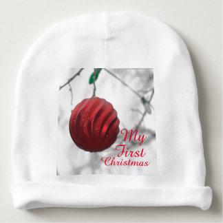 Baby's First Christmas Red Ornament Ball Baby Beanie