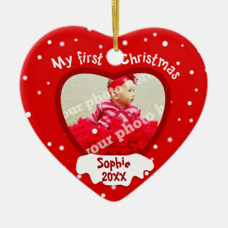 Baby's First Christmas Red Photo Heart Ornament