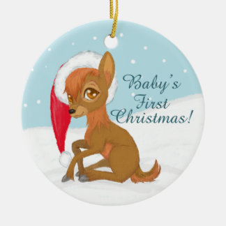 Baby's First Christmas (Reindeer) Ceramic Ornament