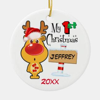 Baby's First Christmas Reindeer Custom Round Ceramic Decoration