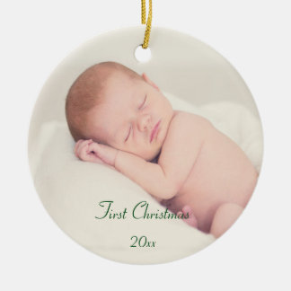 Baby's First Christmas Round Ceramic Decoration