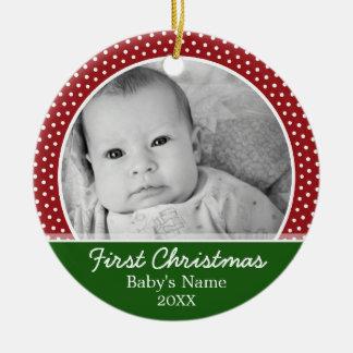 Babys First Christmas Round Ceramic Decoration