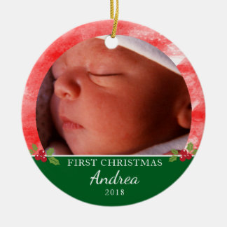 Baby's First Christmas Round Ornament