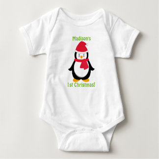Baby's First Christmas Shirt, Personalised Penguin Baby Bodysuit