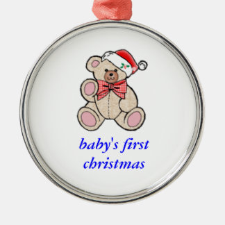 baby's first christmas Silver-Colored round decoration