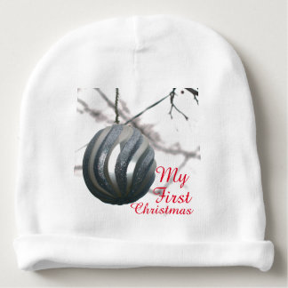 Baby's First Christmas Silver Ornament Ball Baby Beanie