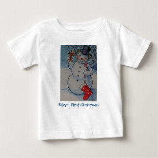 Baby's First Christmas Snowman Baby T-Shirt