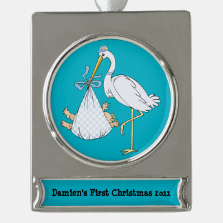 Baby's First Christmas Stork Blue Customizable Silver Plated Banner Ornament