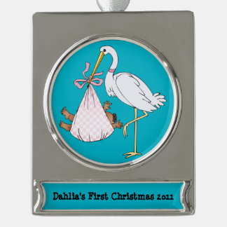 Baby's First Christmas Stork Pink Customizable Silver Plated Banner Ornament