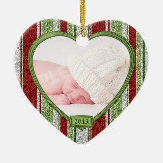 Baby's First Christmas Stripes Photo Heart Xmas Ceramic Heart Decoration