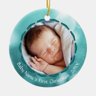 Baby's First Christmas, Teal/White Bokeh, 2 Pics Ceramic Ornament
