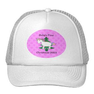 Baby's first christmas unicorn trucker hat