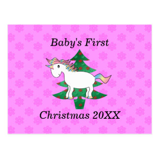 Baby's first christmas unicorn postcard