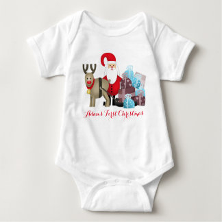 Baby's first Christmas with Rudolf and Santa Claus Baby Bodysuit