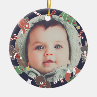 Baby's First Christmas Woodland Animals Photo Ceramic Ornament