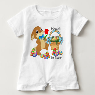 Baby's First Easter Romper NAME Snap Crotch Cotton Baby Bodysuit