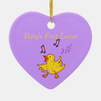 Baby's First Easter Singing Chick Heart Ornament