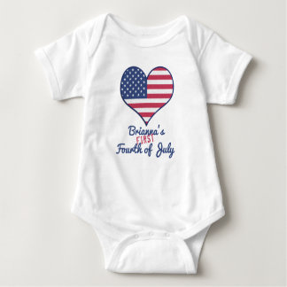 Baby's First Fourth of July Personalized Baby Bodysuit