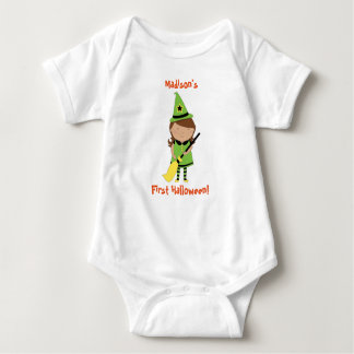 Baby's First Halloween Shirt, Personalised Witch Baby Bodysuit