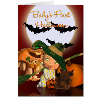 Baby's First Halloween with bats and pumpkins Greeting Card