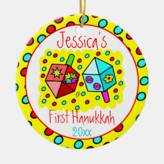 Baby's First Hanukkah - ONE-SIDED Ceramic Ornament