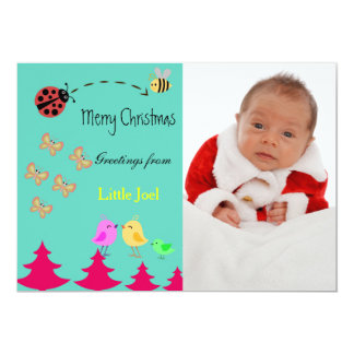 Baby's First Merry Christmas Greetings Photo Card 13 Cm X 18 Cm Invitation Card