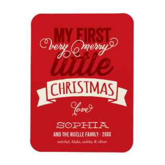 Baby's First Merry Little Christmas Greeting Rectangular Photo Magnet