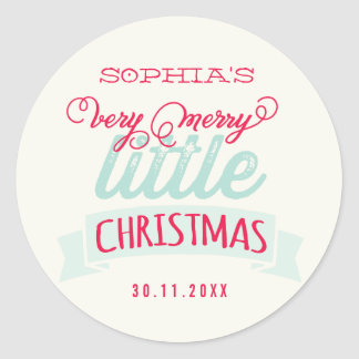 Baby's First Merry Little Christmas Greeting Round Sticker