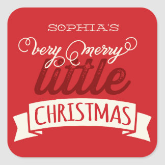 Baby's First Merry Little Christmas Greeting Square Sticker