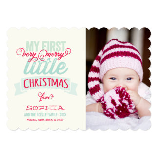 Baby's First Merry Little Christmas Photo Card 13 Cm X 18 Cm Invitation Card