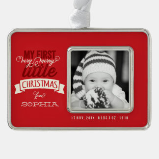 Baby's First Merry Little Christmas Photo Ornament Silver Plated Framed Ornament