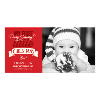 Baby's First Merry Little Christmas Red Photo Card