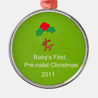 Baby's First Pre-Natal Christmas 2011 Silver-Colored Round Decoration