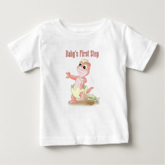 Baby's First Step- peach Baby T-Shirt