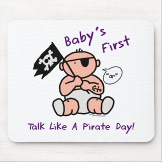 Baby's first talk like a pirate day mouse pad