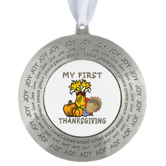 Baby's First Thanksgiving Round Pewter Ornament