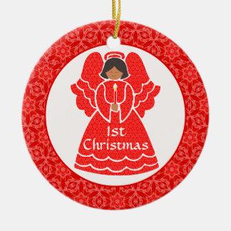 Baby's Girl's 1st Christmas Ethnic Angel Round Ceramic Decoration