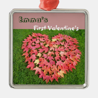 Baby's Name First Valentine gift Ornaments Heart
